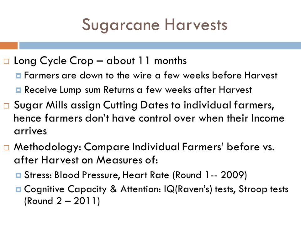 Sugarcane Harvests  Long Cycle Crop – about 11 months  Farmers are down to the wire a few weeks before Harvest  Receive Lump sum Returns a few week