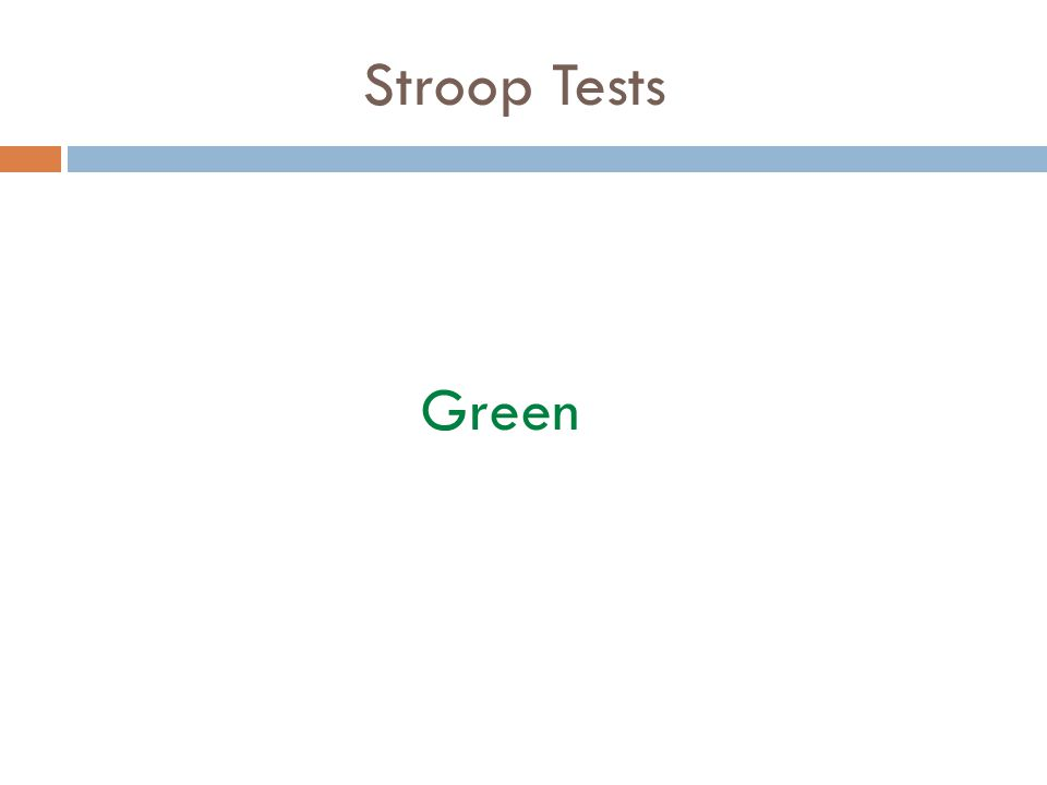 Stroop Tests Green