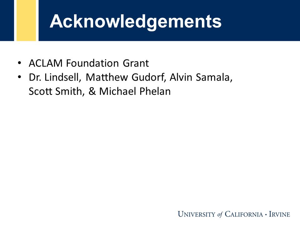 Acknowledgements ACLAM Foundation Grant Dr.