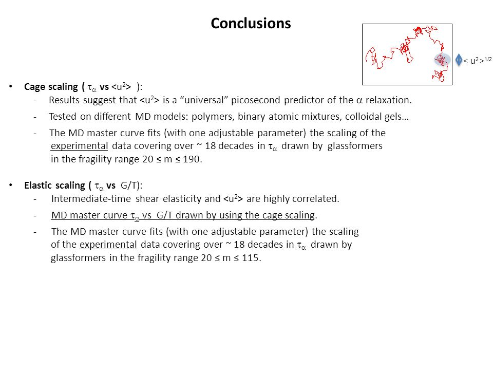 "1/2 Conclusions Cage scaling (   vs ): -Results suggest that is a ""universal"" picosecond predictor of the  relaxation. -Tested on different MD mode"