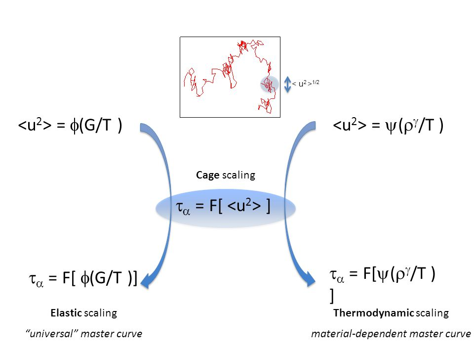 =  (G/T ) =  (   /T )   = F[  (G/T )]   = F[  (   /T ) ]   = F[ ] Elastic scaling universal master curve Thermodynamic scaling material-dependent master curve 1/2 Cage scaling