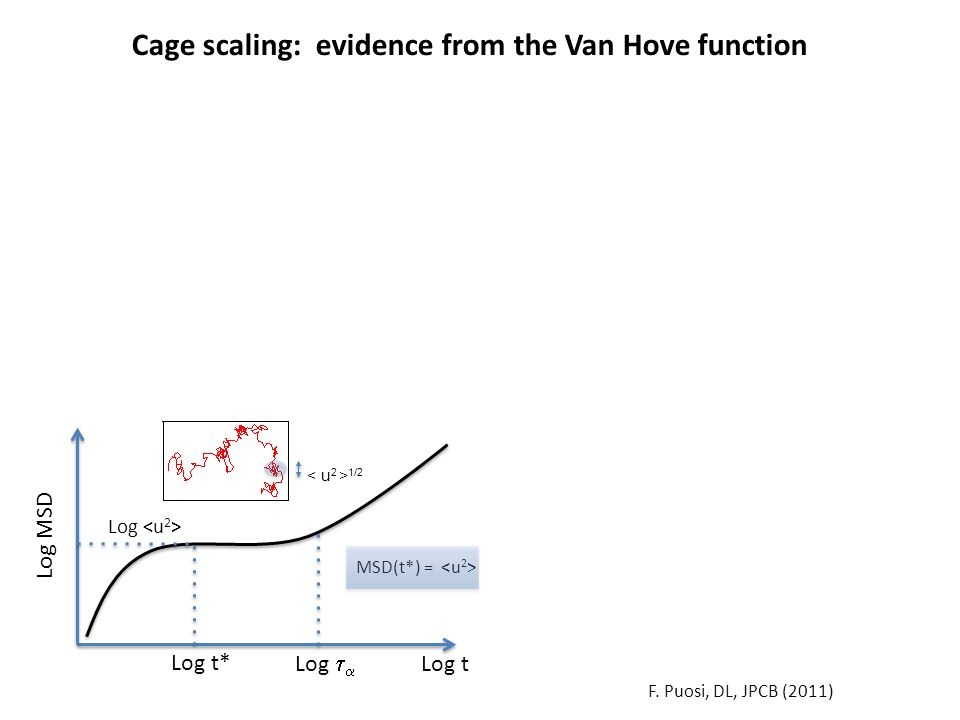 Log t Log MSD Log Log t* F. Puosi, DL, JPCB (2011) Log   Cage scaling: evidence from the Van Hove function 1/2 MSD(t*) =