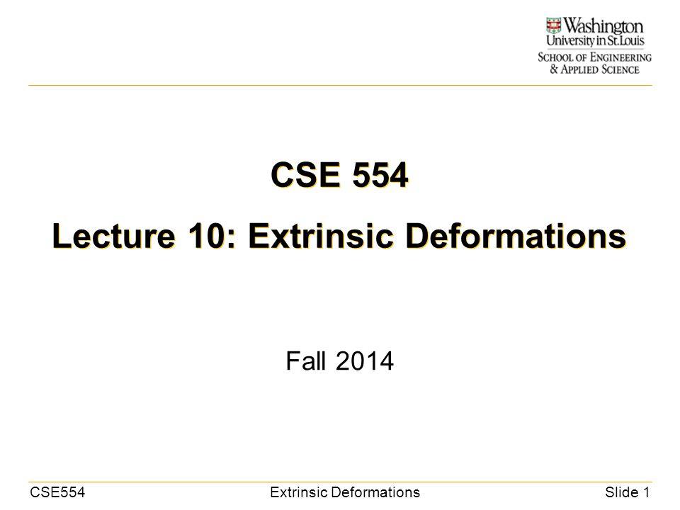CSE554Extrinsic DeformationsSlide 1 CSE 554 Lecture 10: Extrinsic Deformations Fall 2014