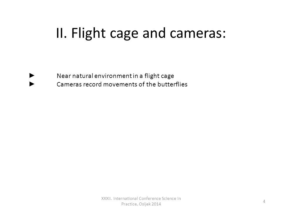 II. Flight cage and cameras: XXXII.