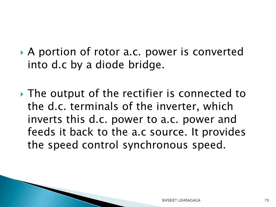  A portion of rotor a.c. power is converted into d.c by a diode bridge.  The output of the rectifier is connected to the d.c. terminals of the inver