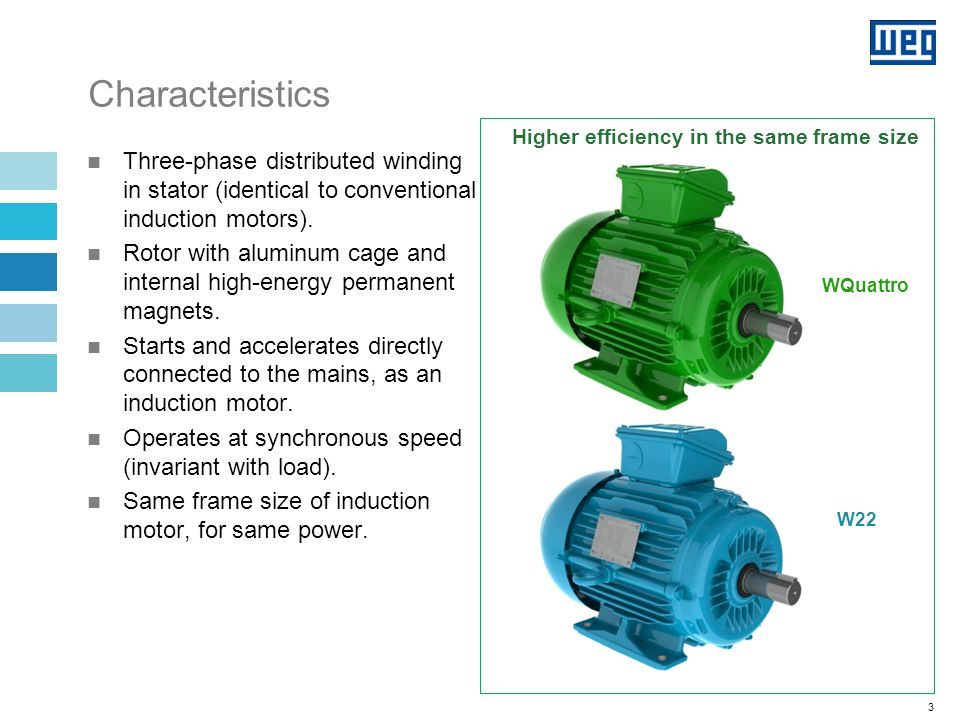 3 Characteristics Three-phase distributed winding in stator (identical to conventional induction motors).