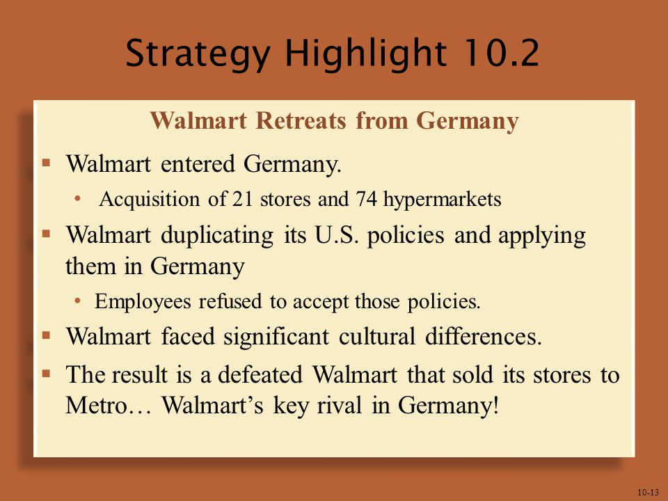 10-13 Strategy Highlight 10.2 Walmart Retreats from Germany  Walmart entered Germany.