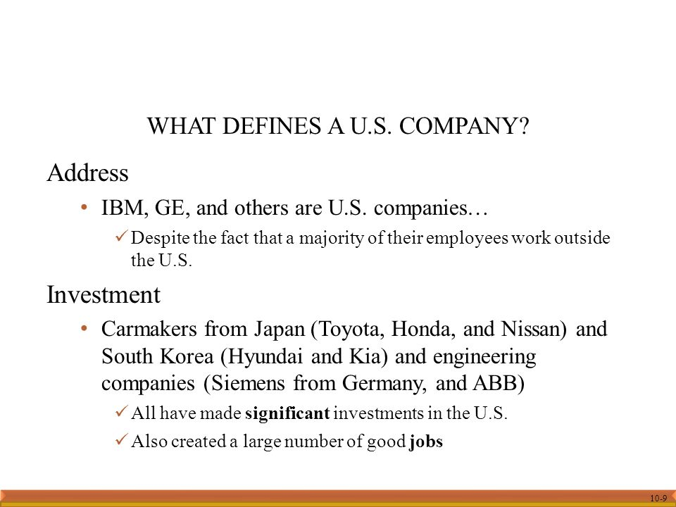 10-9 Address IBM, GE, and others are U.S.