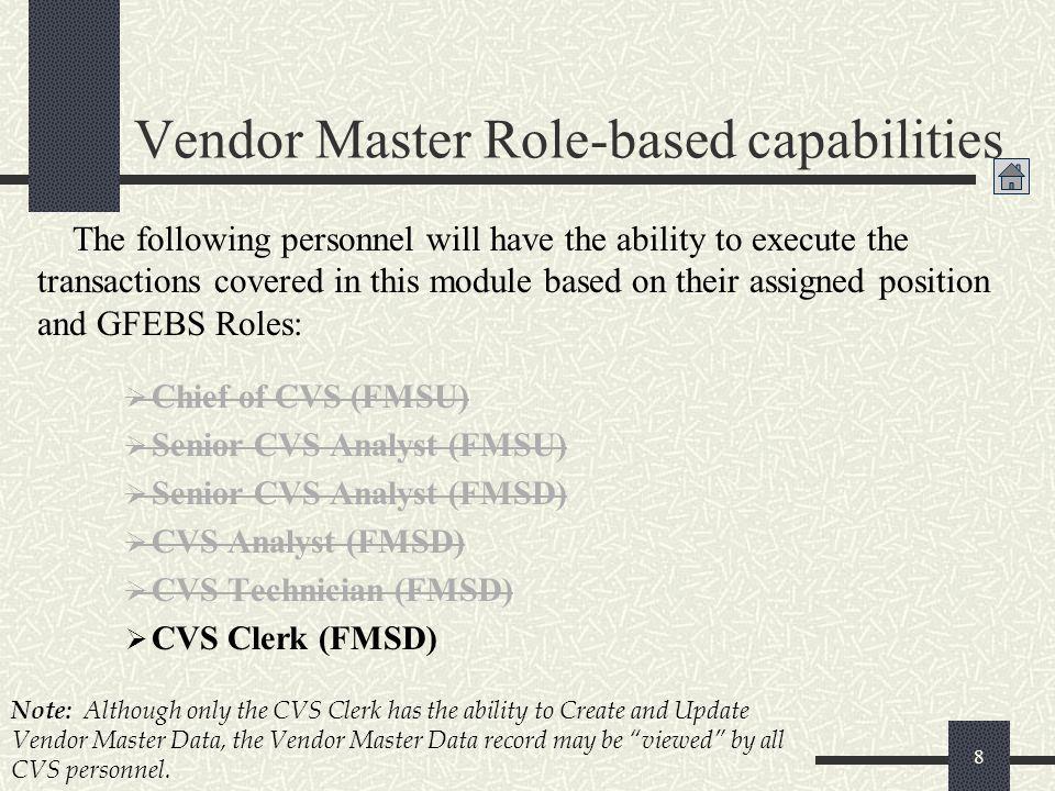  Chief of CVS (FMSU)  Senior CVS Analyst (FMSU)  Senior CVS Analyst (FMSD)  CVS Analyst (FMSD)  CVS Technician (FMSD)  CVS Clerk (FMSD) 8 The fo