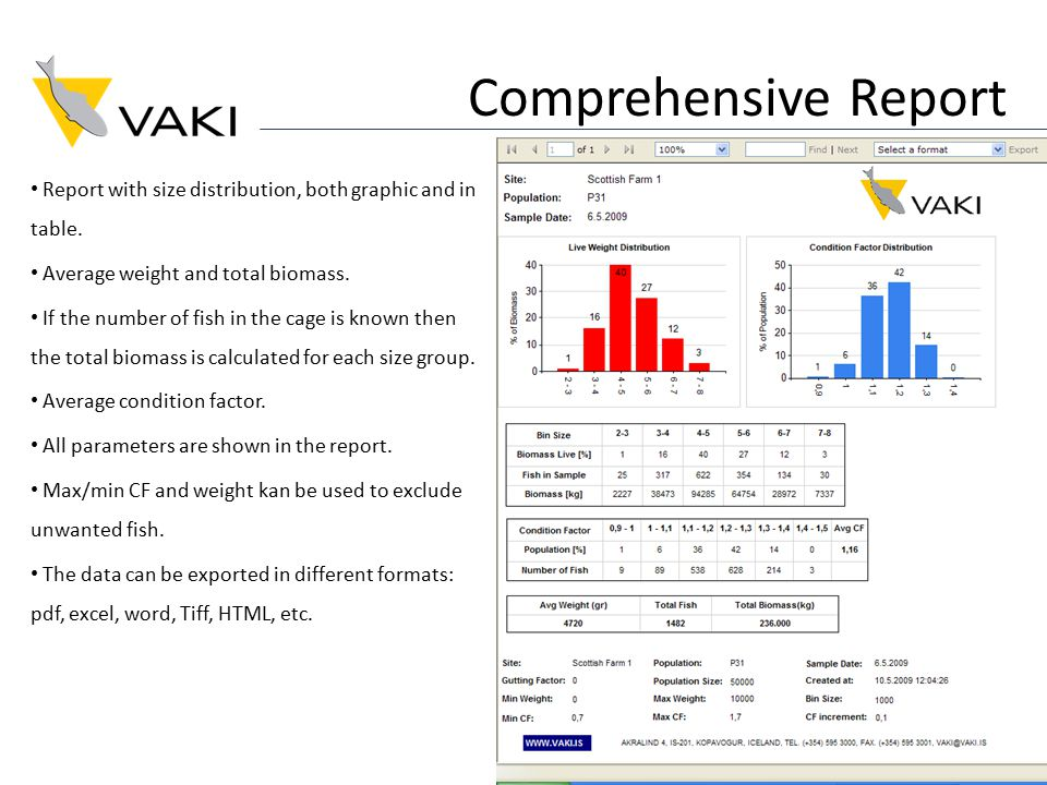 Comprehensive Report Report with size distribution, both graphic and in table.