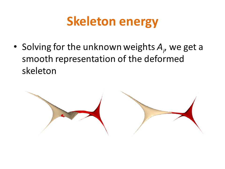 Skeleton energy Solving for the unknown weights A i, we get a smooth representation of the deformed skeleton