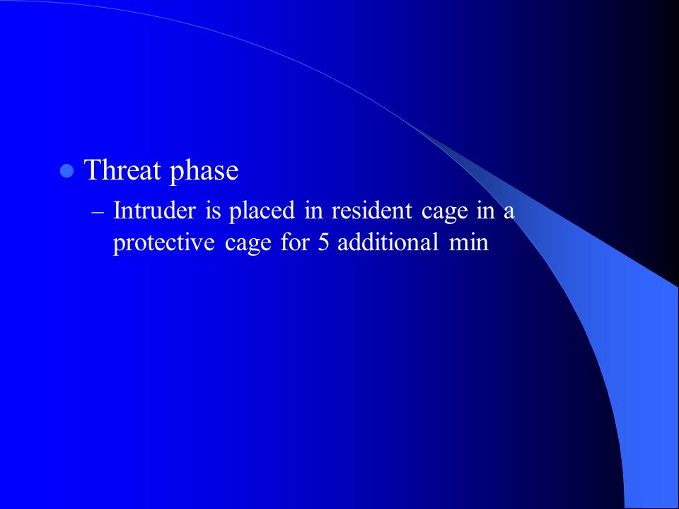 Threat phase – Intruder is placed in resident cage in a protective cage for 5 additional min