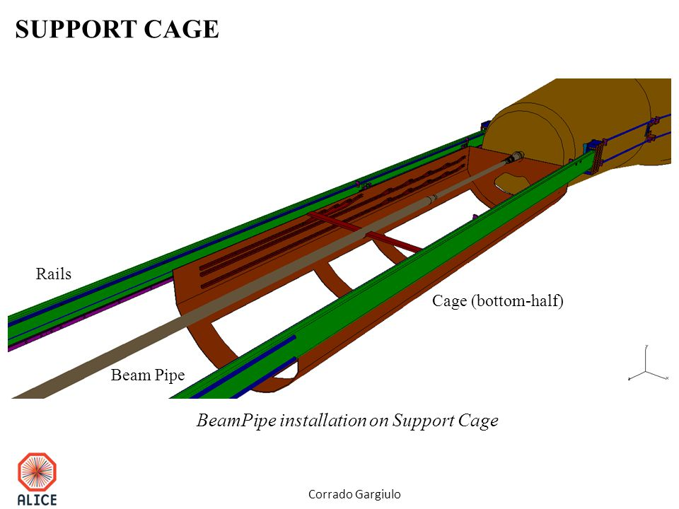 SUPPORT CAGE Corrado Gargiulo Beam Pipe Cage (bottom-half) Rails BeamPipe installation on Support Cage