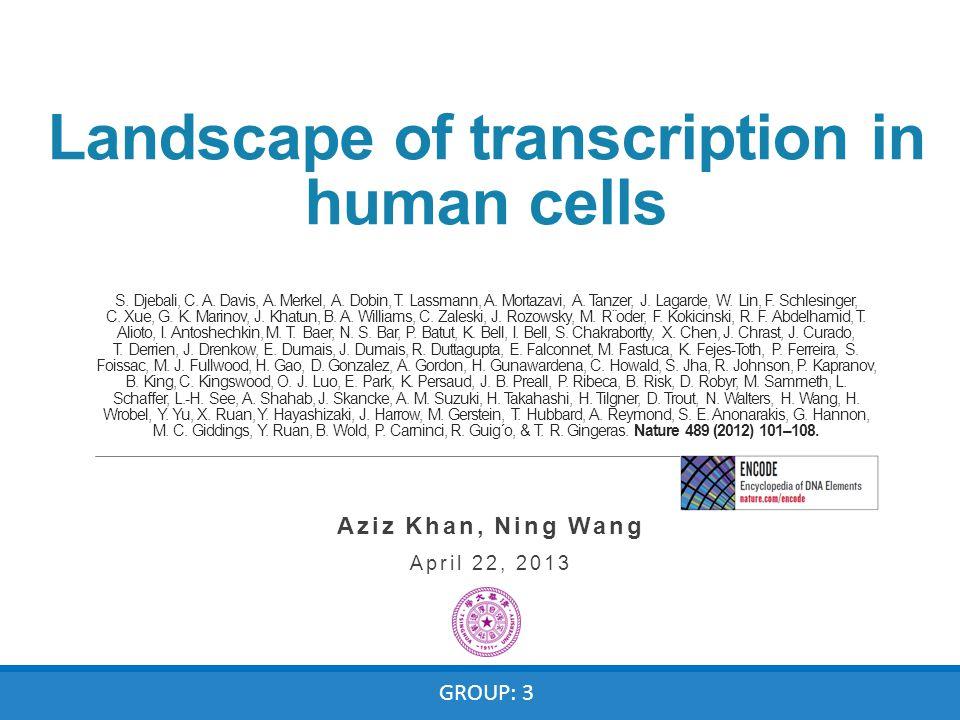 Landscape of transcription in human cells S. Djebali, C. A. Davis, A. Merkel, A. Dobin, T. Lassmann, A. Mortazavi, A. Tanzer, J. Lagarde, W. Lin, F. S