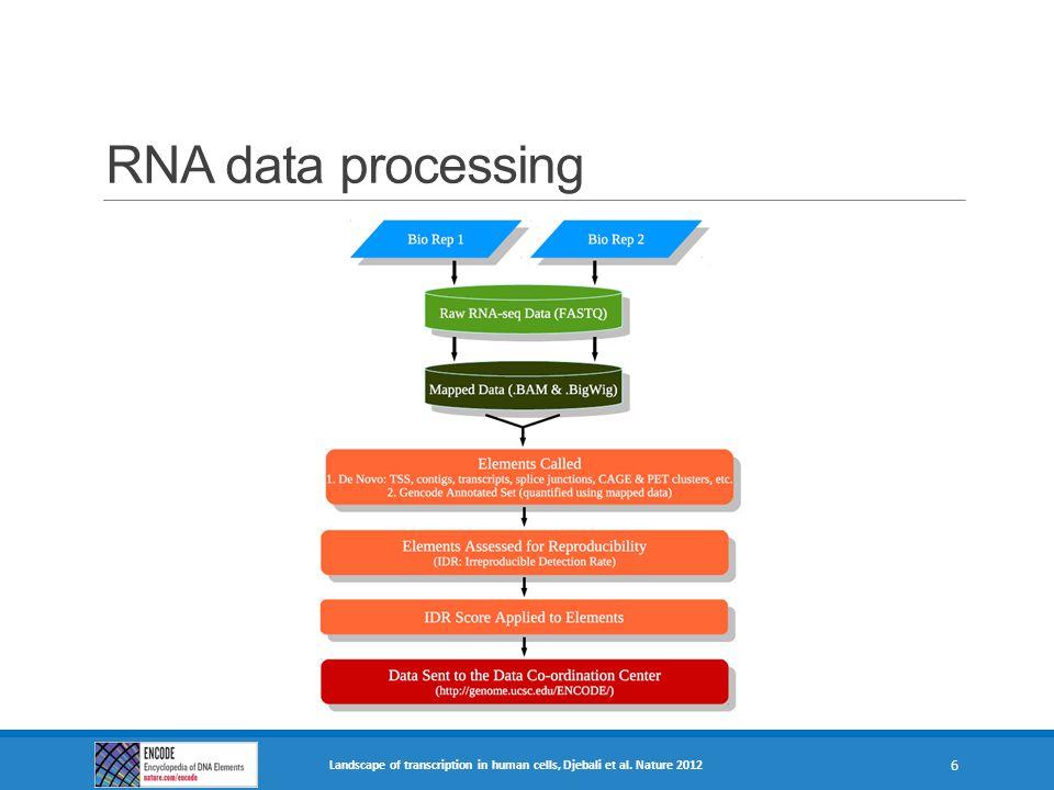 RNA data processing Landscape of transcription in human cells, Djebali et al. Nature 2012 6