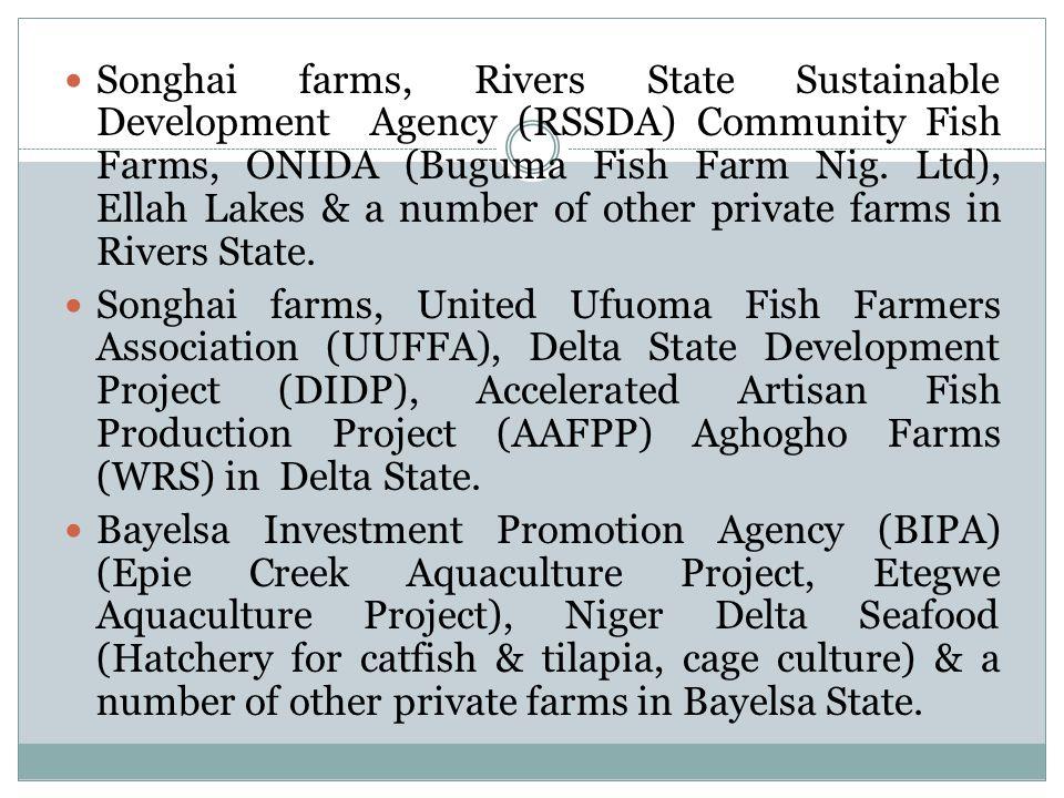 Songhai farms, Rivers State Sustainable Development Agency (RSSDA) Community Fish Farms, ONIDA (Buguma Fish Farm Nig.