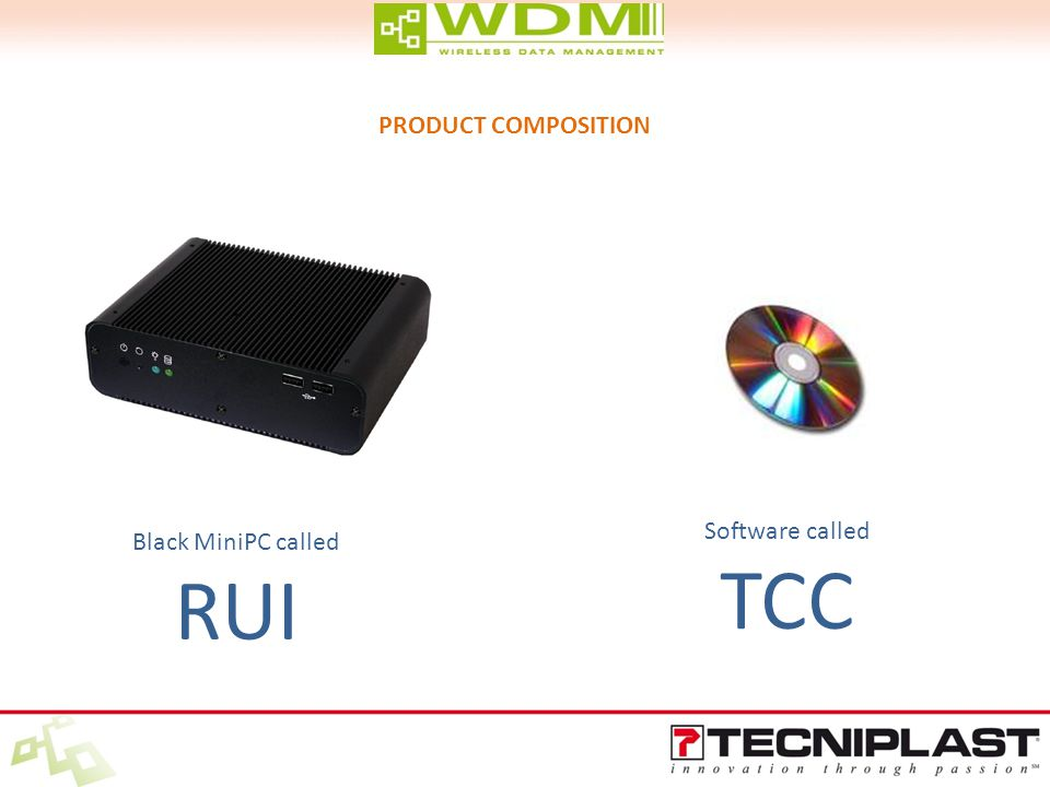 Black MiniPC called RUI Software called TCC PRODUCT COMPOSITION