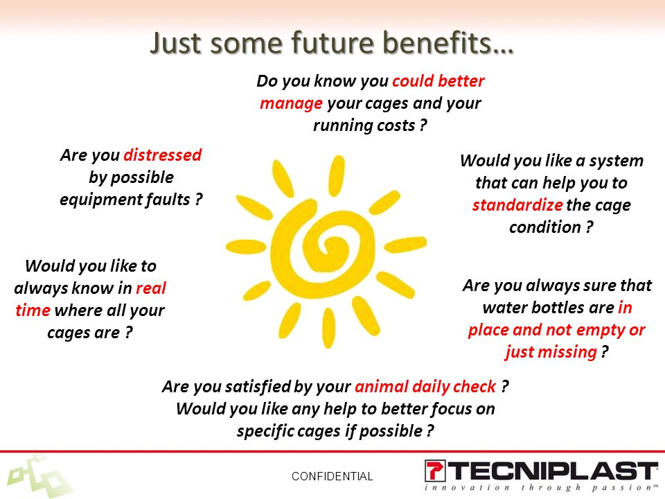 Just some future benefits… CONFIDENTIAL Are you distressed by possible equipment faults .