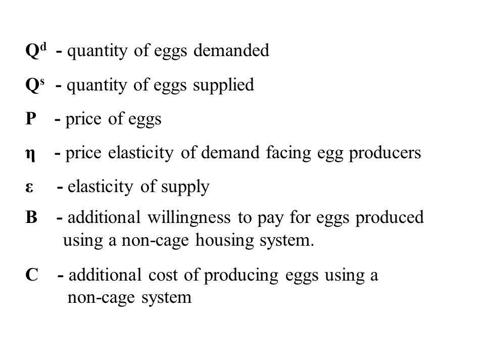 Q d - quantity of eggs demanded Q s - quantity of eggs supplied P - price of eggs η - price elasticity of demand facing egg producers ε - elasticity of supply B - additional willingness to pay for eggs produced using a non-cage housing system.