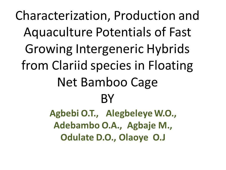 Characterization, Production and Aquaculture Potentials of Fast Growing Intergeneric Hybrids from Clariid species in Floating Net Bamboo Cage BY Agbebi O.T., Alegbeleye W.O., Adebambo O.A., Agbaje M., Odulate D.O., Olaoye O.J