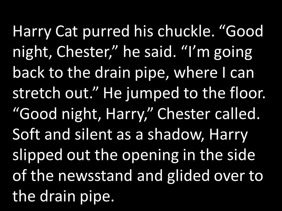 Harry Cat purred his chuckle. Good night, Chester, he said.
