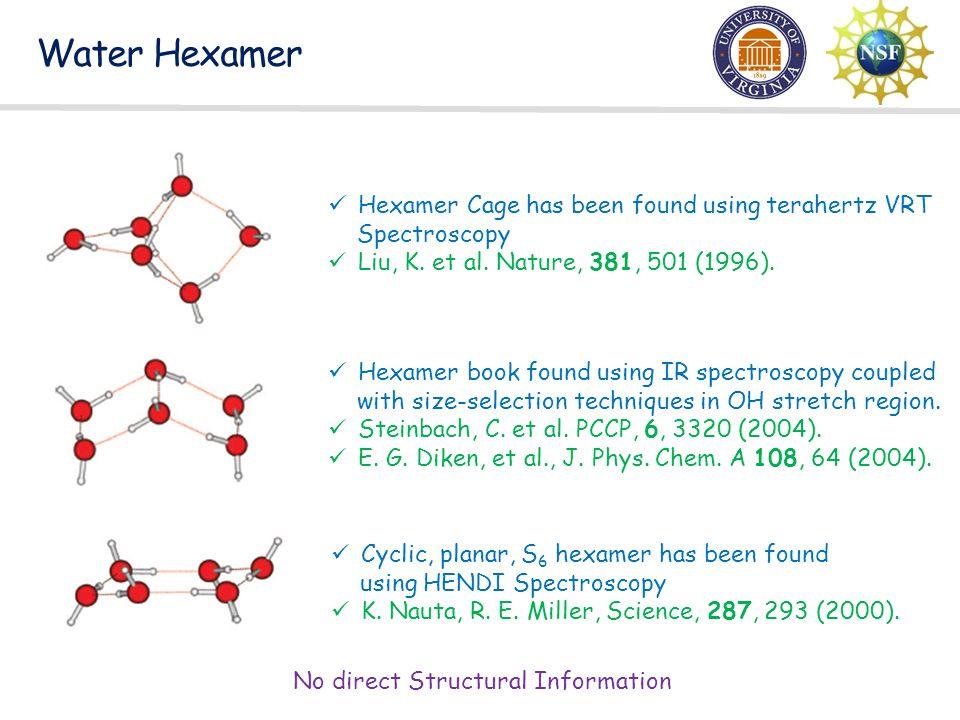 Water Hexamer Cyclic, planar, S 6 hexamer has been found using HENDI Spectroscopy K. Nauta, R. E. Miller, Science, 287, 293 (2000). Hexamer Cage has b
