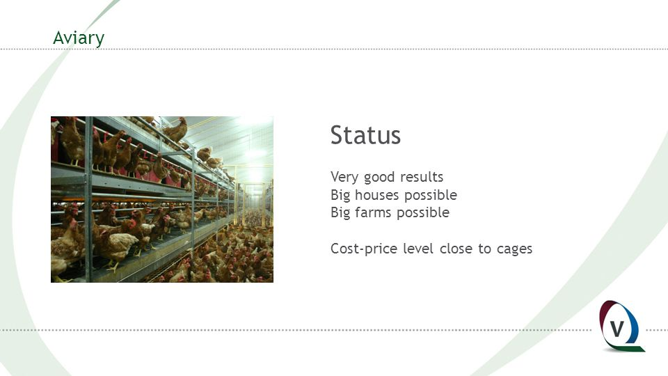 Aviary Status Very good results Big houses possible Big farms possible Cost-price level close to cages