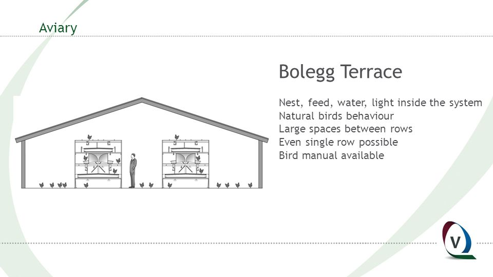 Aviary Bolegg Terrace Nest, feed, water, light inside the system Natural birds behaviour Large spaces between rows Even single row possible Bird manual available