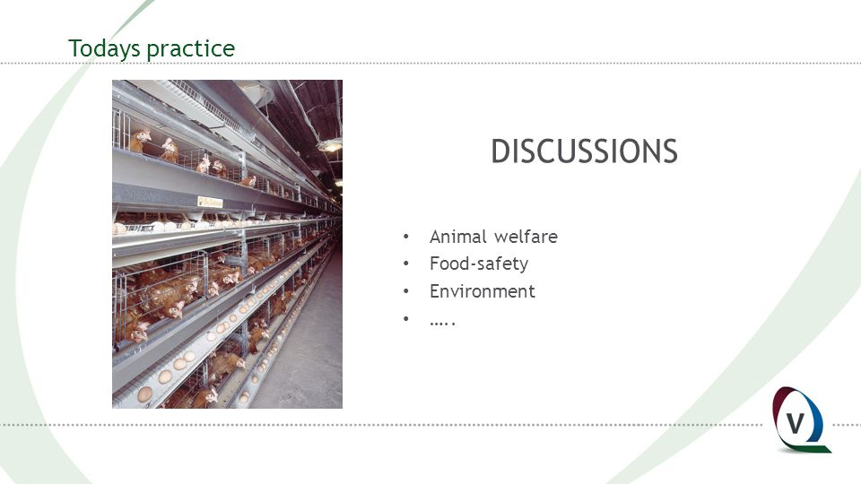 Todays practice DISCUSSIONS Animal welfare Food-safety Environment …..