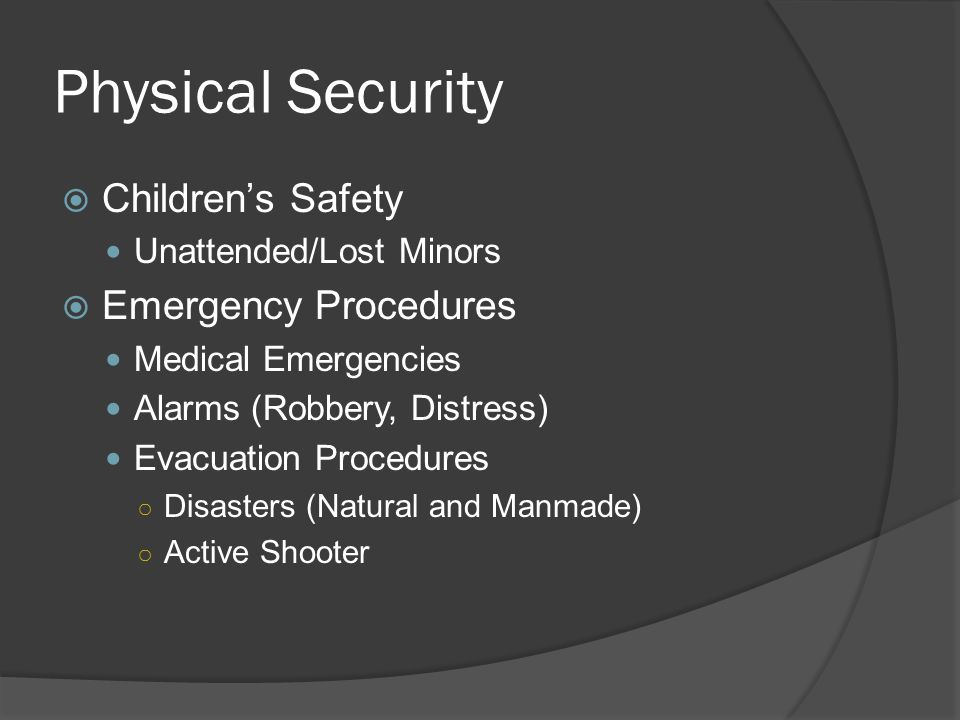 Physical Security  First Part of Security Triangle  Customer Service Friendly and helpful to customers Uniforms vary from property to property  Knowledge of State Law's/Gaming Reg's Laws of Arrest Detention Search/Seizure Use of Force Trespass/ Eviction  Maritime Security (Marsec) Levels Normal (Level 1) High (Level 2) Severe (Level 3)