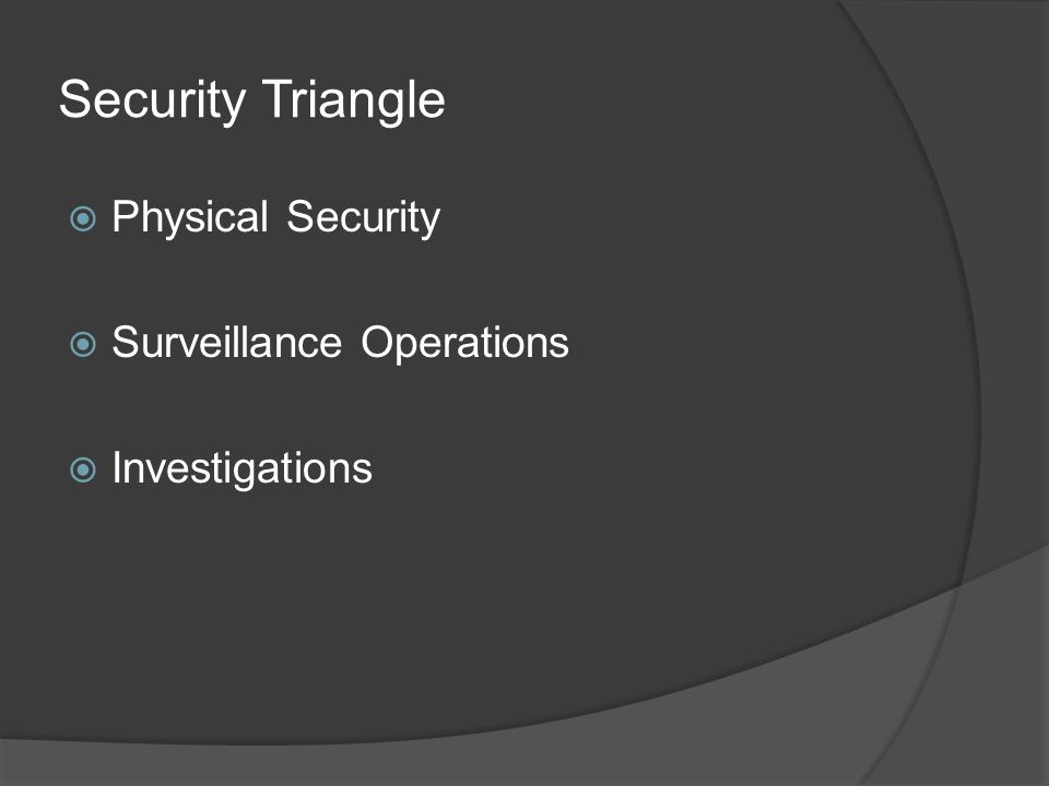 Investigations  Third part of security triangle  Corporate Compliance Policy  Compliance Investigations Employee background investigations; all employees Vendor investigations  Internal Investigations Violations of company policy; federal law; state law and local law