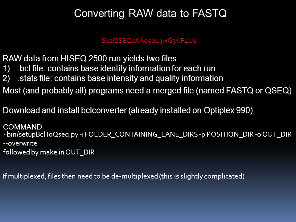 Converting RAW data to FASTQ RAW data from HISEQ 2500 run yields two files 1).bcl file: contains base identity information for each run 2).stats file: contains base intensity and quality information Most (and probably all) programs need a merged file (named FASTQ or QSEQ) Download and install bclconverter (already installed on Optiplex 990) SxaQSEQsXA050L3:xG3KF4Ue ~bin/setupBclToQseq.py -i FOLDER_CONTAINING_LANE_DIRS -p POSITION_DIR -o OUT_DIR --overwrite followed by make in OUT_DIR COMMAND If multiplexed, files then need to be de-multiplexed (this is slightly complicated)