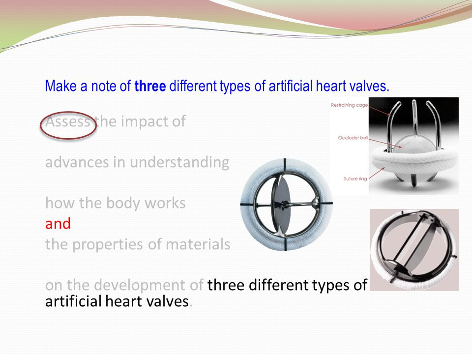 Assess the impact of advances in understanding how the body works and the properties of materials on the development of three different types of artificial heart valves.