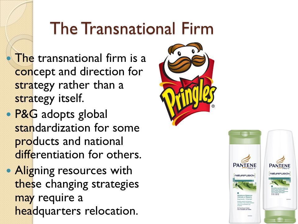 The Transnational Firm The transnational firm is a concept and direction for strategy rather than a strategy itself.