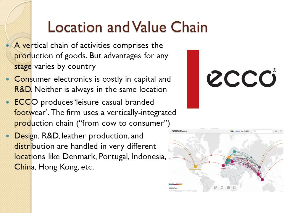 Location and Value Chain A vertical chain of activities comprises the production of goods.