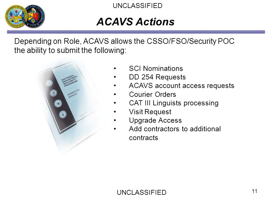 Depending on Role, ACAVS allows the CSSO/FSO/Security POC the ability to submit the following: SCI Nominations DD 254 Requests ACAVS account access re