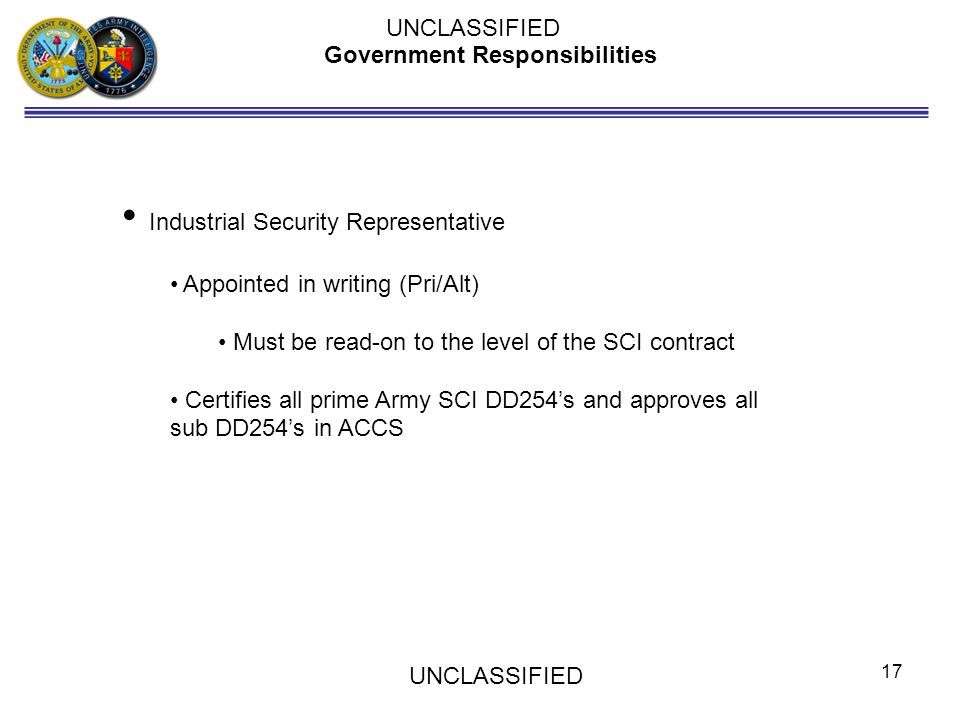 Government Responsibilities Industrial Security Representative Appointed in writing (Pri/Alt) Must be read-on to the level of the SCI contract Certifi
