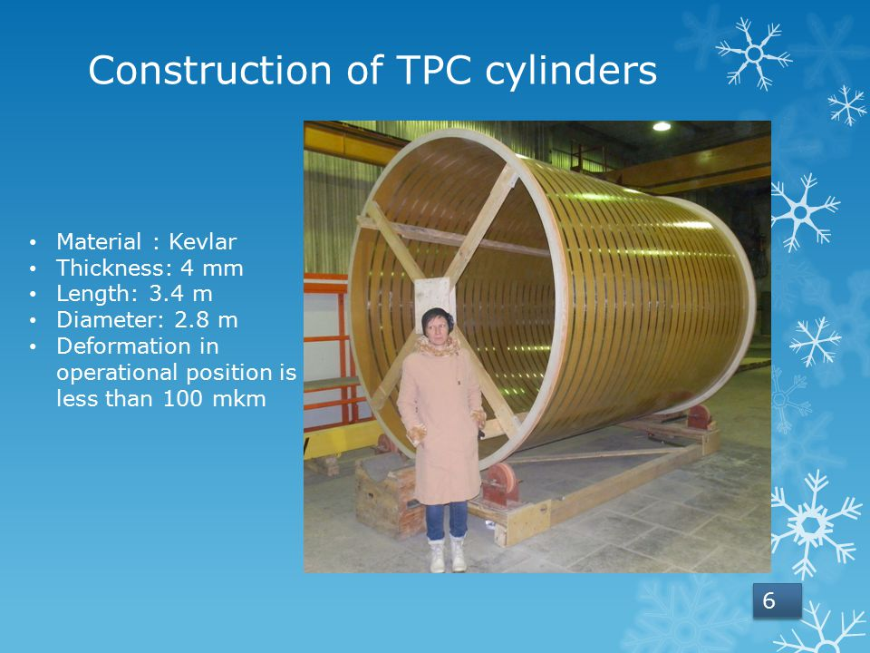 Construction of TPC cylinders Material : Kevlar Thickness: 4 mm Length: 3.4 m Diameter: 2.8 m Deformation in operational position is less than 100 mkm 6 6