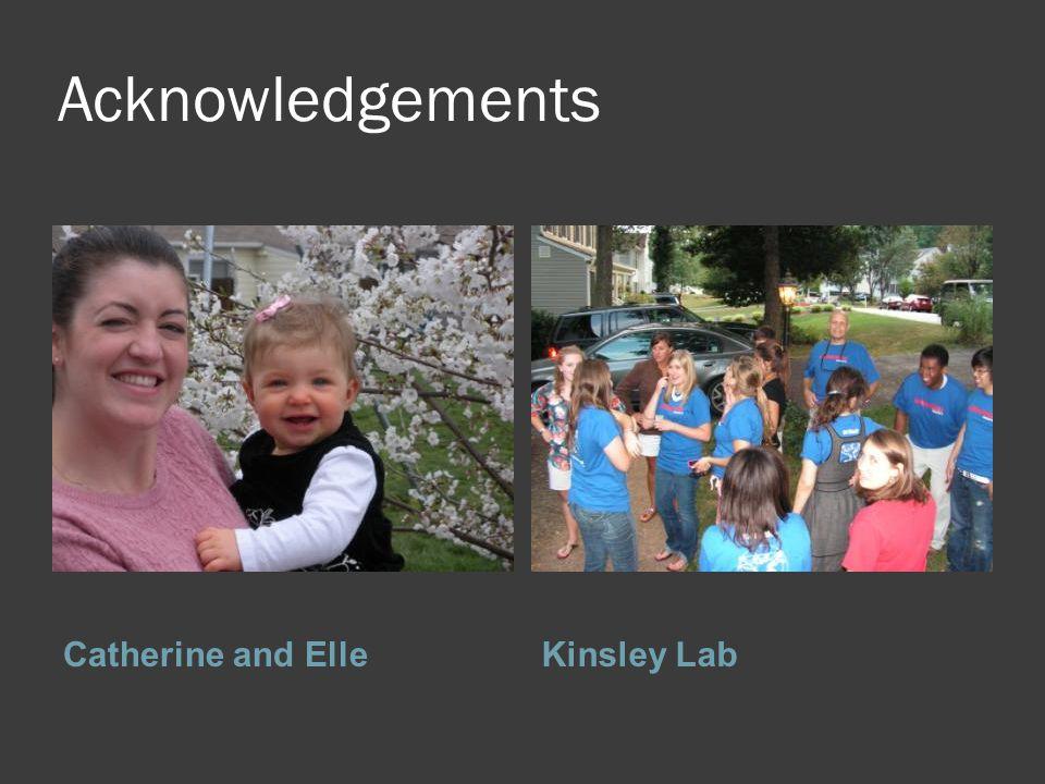 Acknowledgements Catherine and ElleKinsley Lab