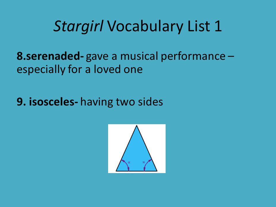 Stargirl Vocabulary List 1 10.