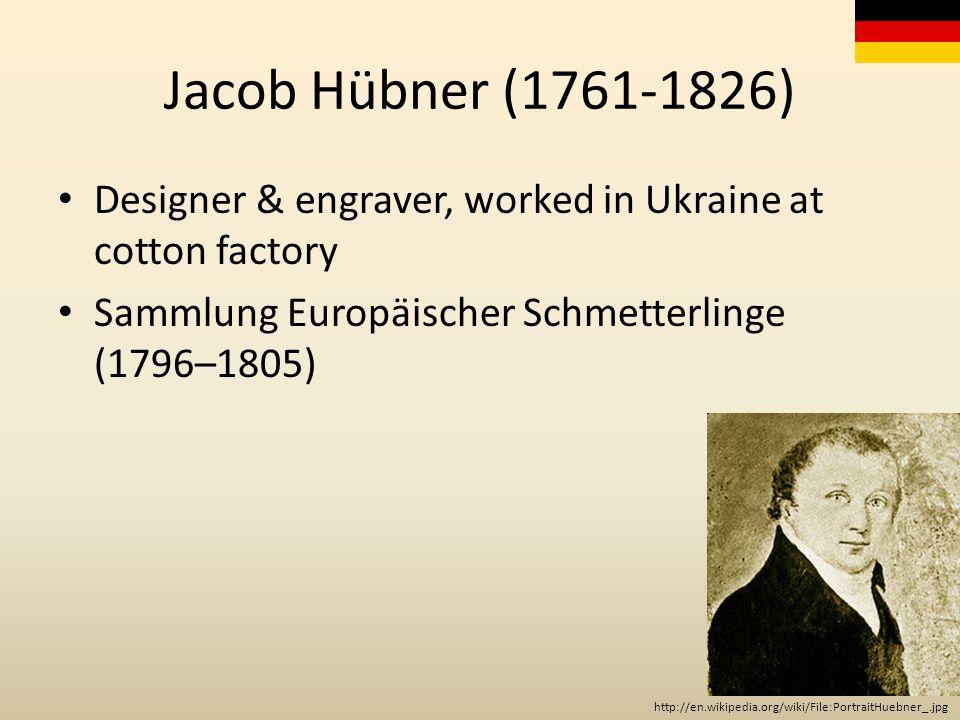Jacob Hübner (1761-1826) Designer & engraver, worked in Ukraine at cotton factory Sammlung Europäischer Schmetterlinge (1796–1805) http://en.wikipedia.org/wiki/File:PortraitHuebner_.jpg