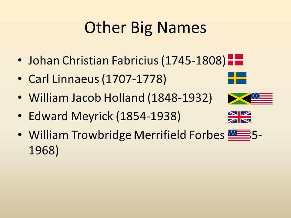 Other Big Names Johan Christian Fabricius (1745-1808) Carl Linnaeus (1707-1778) William Jacob Holland (1848-1932) Edward Meyrick (1854-1938) William Trowbridge Merrifield Forbes (1885- 1968)