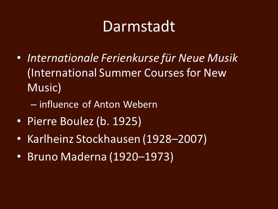 Musique Concrète versus Elektronische Music Elektronische Music – music based exclusively on synthesized sounds – Herbert Eimert (1897–1972) – Stockhausen Studien (1953,54)