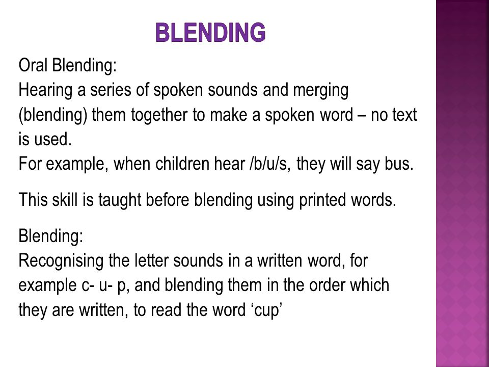 Oral Blending: Hearing a series of spoken sounds and merging (blending) them together to make a spoken word – no text is used.