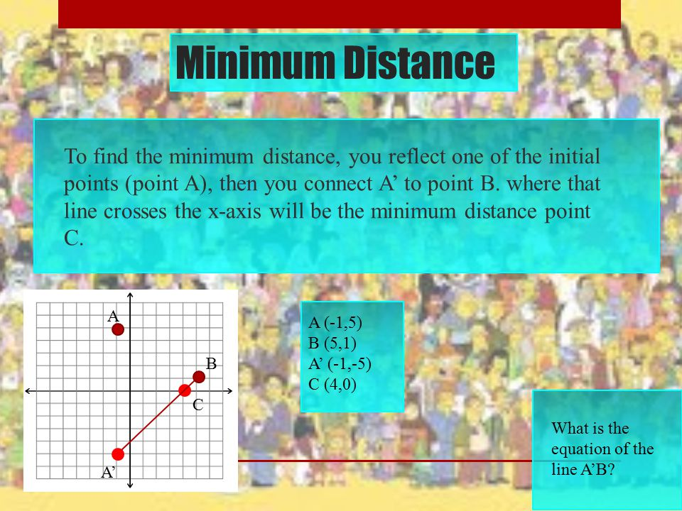 Minimum Distance To find the minimum distance, you reflect one of the initial points (point A), then you connect A' to point B. where that line crosse