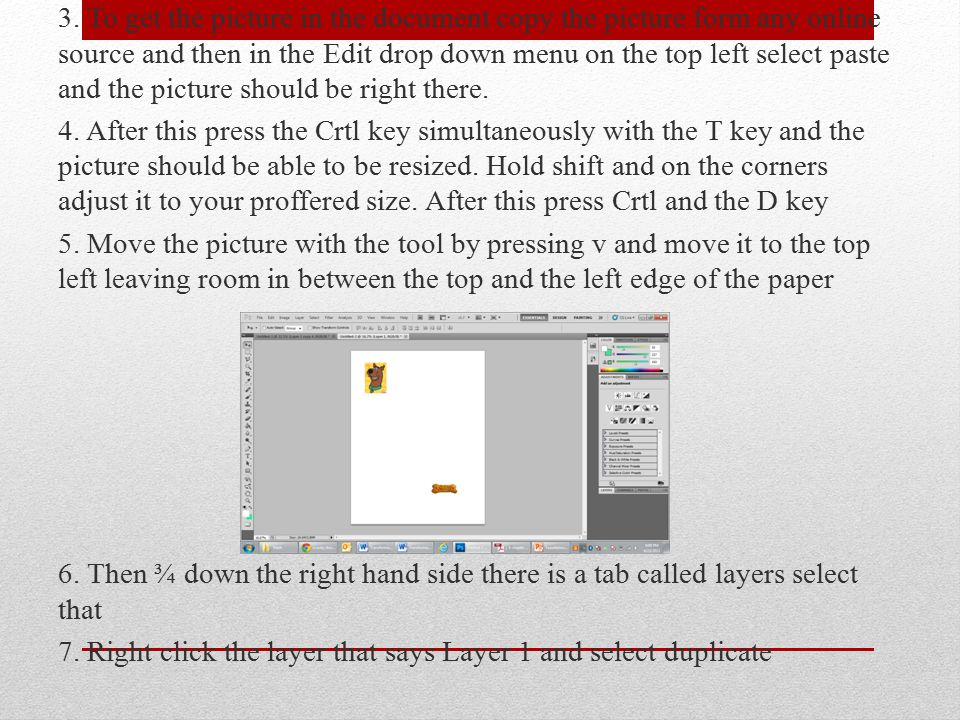 3. To get the picture in the document copy the picture form any online source and then in the Edit drop down menu on the top left select paste and the