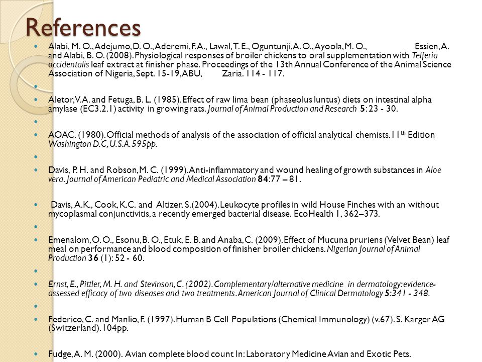 References Alabi, M. O., Adejumo, D. O., Aderemi, F.