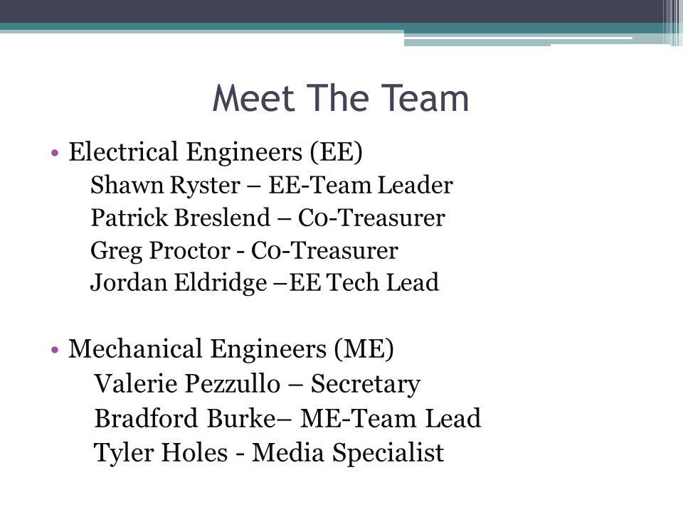 Meet The Team Electrical Engineers (EE) Shawn Ryster – EE-Team Leader Patrick Breslend – C0-Treasurer Greg Proctor - C0-Treasurer Jordan Eldridge –EE Tech Lead Mechanical Engineers (ME) Valerie Pezzullo – Secretary Bradford Burke– ME-Team Lead Tyler Holes - Media Specialist
