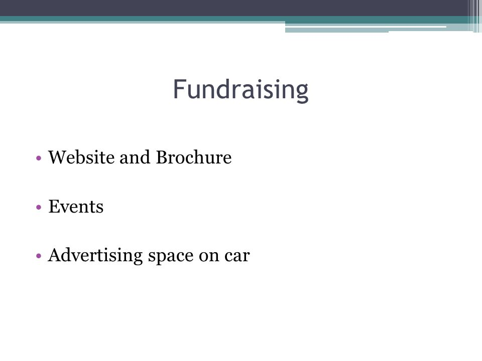 Fundraising Website and Brochure Events Advertising space on car
