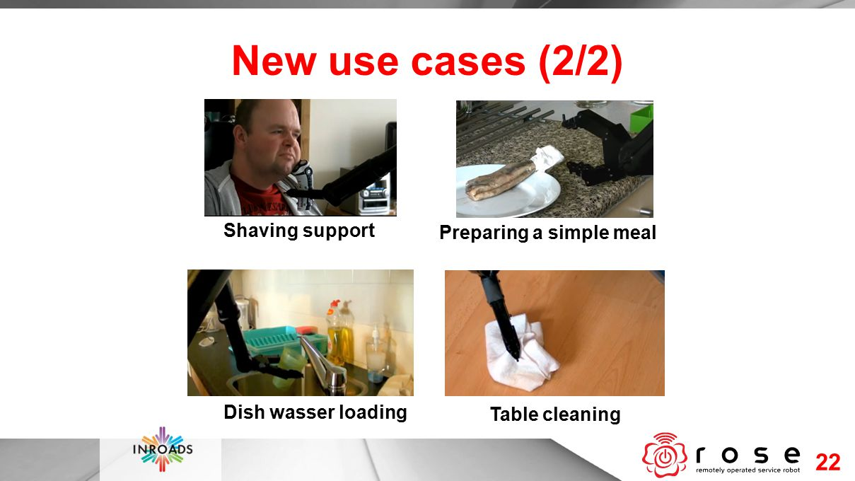 New use cases (2/2) 22 Shaving support Preparing a simple meal Dish wasser loading Table cleaning